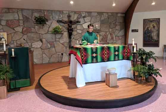 Br. Tien Dinh, OFM Cap. celebrates Mass at St. Dennis in Crow Agency, Montana