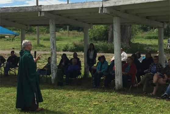 Br. Mark Joseph Costello, OFM Cap. celebrates outdoor Mass in Lodge Grass, Montana